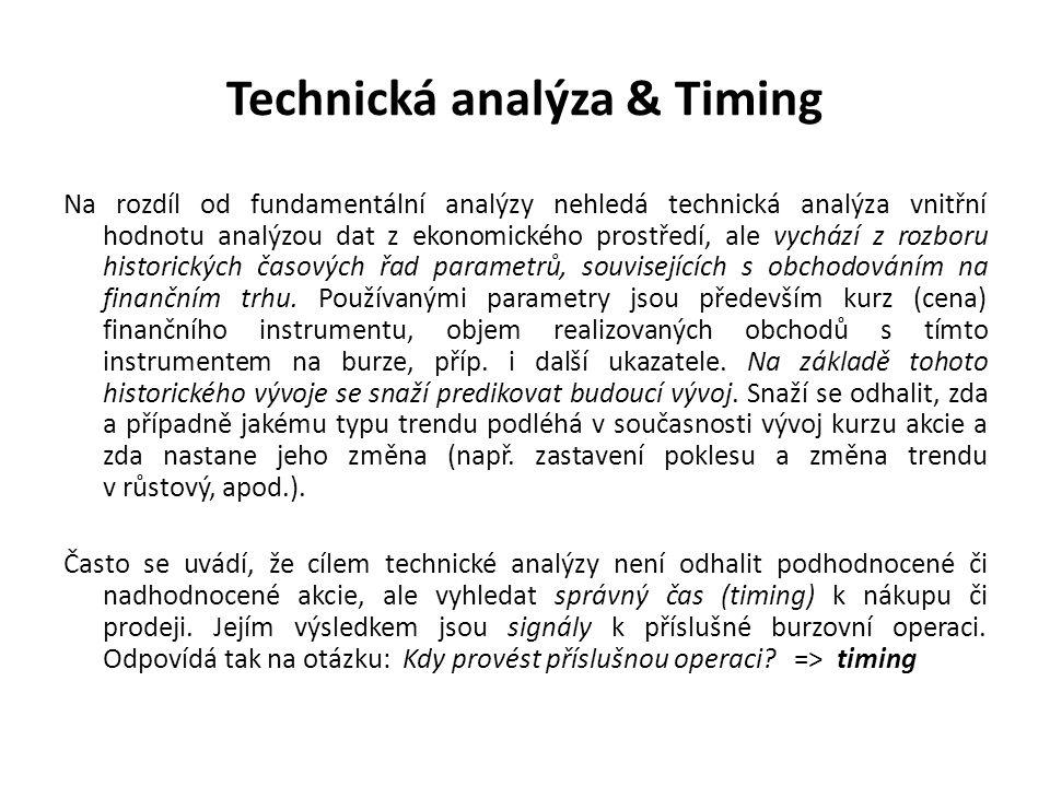Technická analýza & Timing Na rozdíl od fundamentální analýzy nehledá technická analýza vnitřní hodnotu analýzou dat z ekonomického prostředí, ale vyc