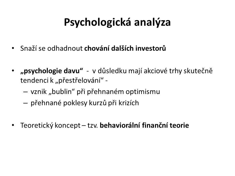 """Psychologická analýza Snaží se odhadnout chování dalších investorů """"psychologie davu"""" - v důsledku mají akciové trhy skutečně tendenci k """"přestřelován"""