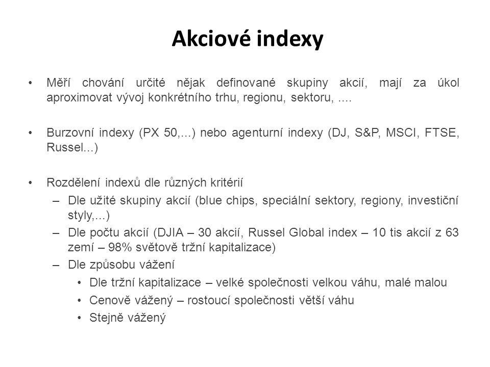 Akciové indexy Měří chování určité nějak definované skupiny akcií, mají za úkol aproximovat vývoj konkrétního trhu, regionu, sektoru,.... Burzovní ind
