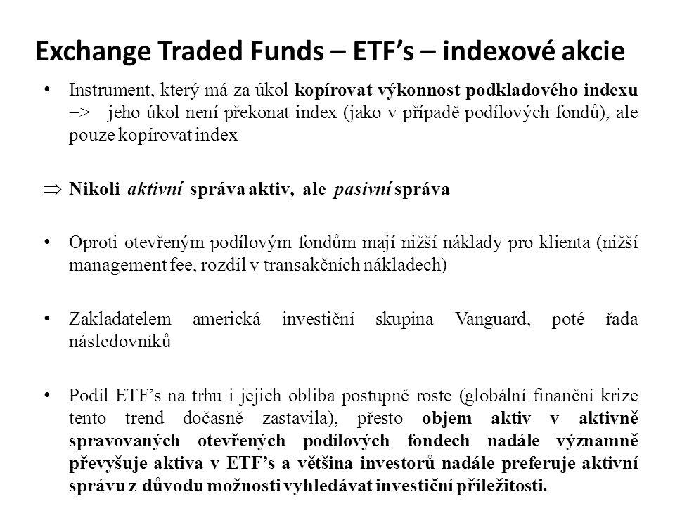 Exchange Traded Funds – ETF's – indexové akcie Instrument, který má za úkol kopírovat výkonnost podkladového indexu => jeho úkol není překonat index (