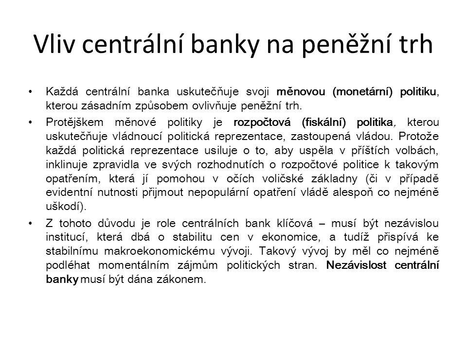 Vliv centrální banky na peněžní trh Každá centrální banka uskutečňuje svoji měnovou (monetární) politiku, kterou zásadním způsobem ovlivňuje peněžní t