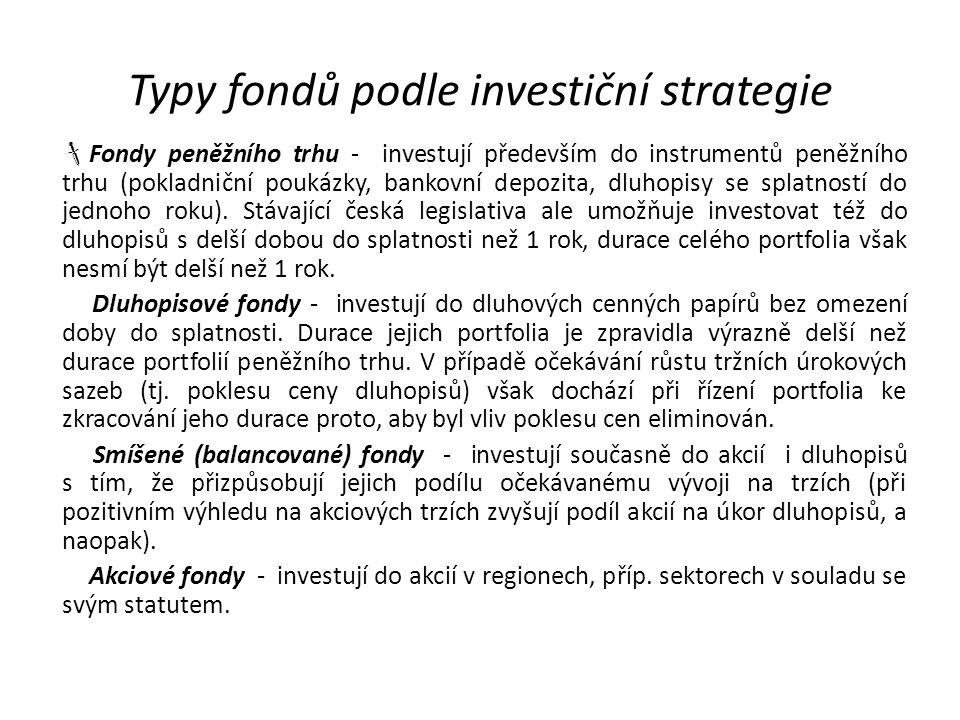 Typy fondů podle investiční strategie  Fondy peněžního trhu - investují především do instrumentů peněžního trhu (pokladniční poukázky, bankovní depoz