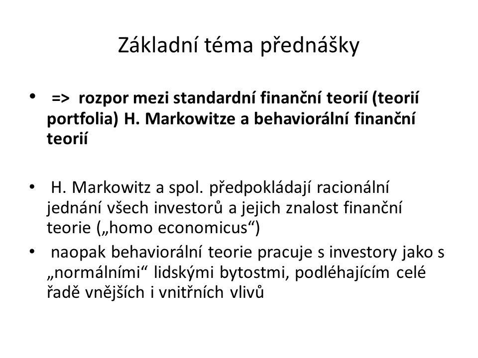 Základní téma přednášky => rozpor mezi standardní finanční teorií (teorií portfolia) H. Markowitze a behaviorální finanční teorií H. Markowitz a spol.