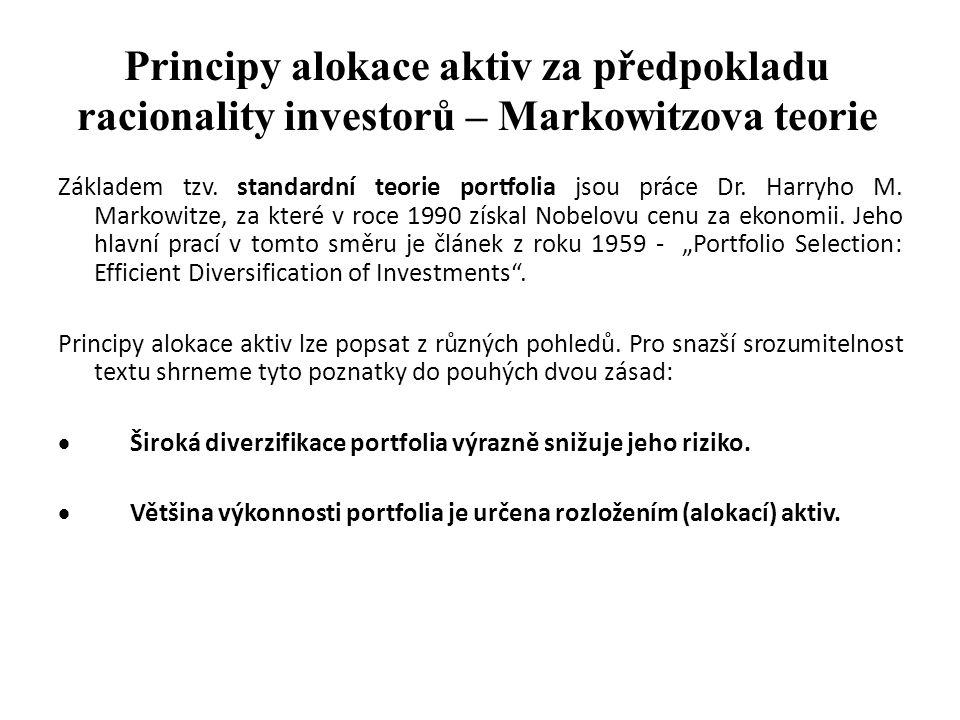 Principy alokace aktiv za předpokladu racionality investorů – Markowitzova teorie Základem tzv. standardní teorie portfolia jsou práce Dr. Harryho M.