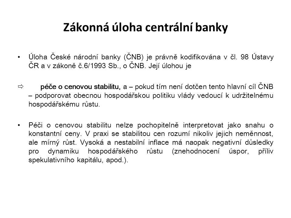 Zákonná úloha centrální banky Úloha České národní banky (ČNB) je právně kodifikována v čl. 98 Ústavy ČR a v zákoně č.6/1993 Sb., o ČNB. Její úlohou je