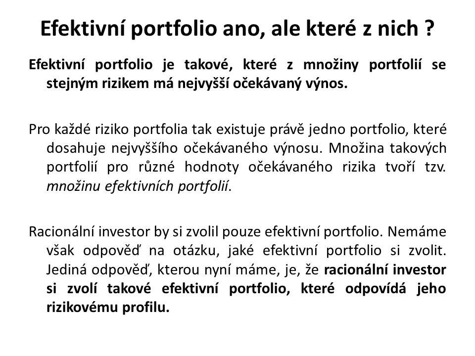 Efektivní portfolio ano, ale které z nich ? Efektivní portfolio je takové, které z množiny portfolií se stejným rizikem má nejvyšší očekávaný výnos. P