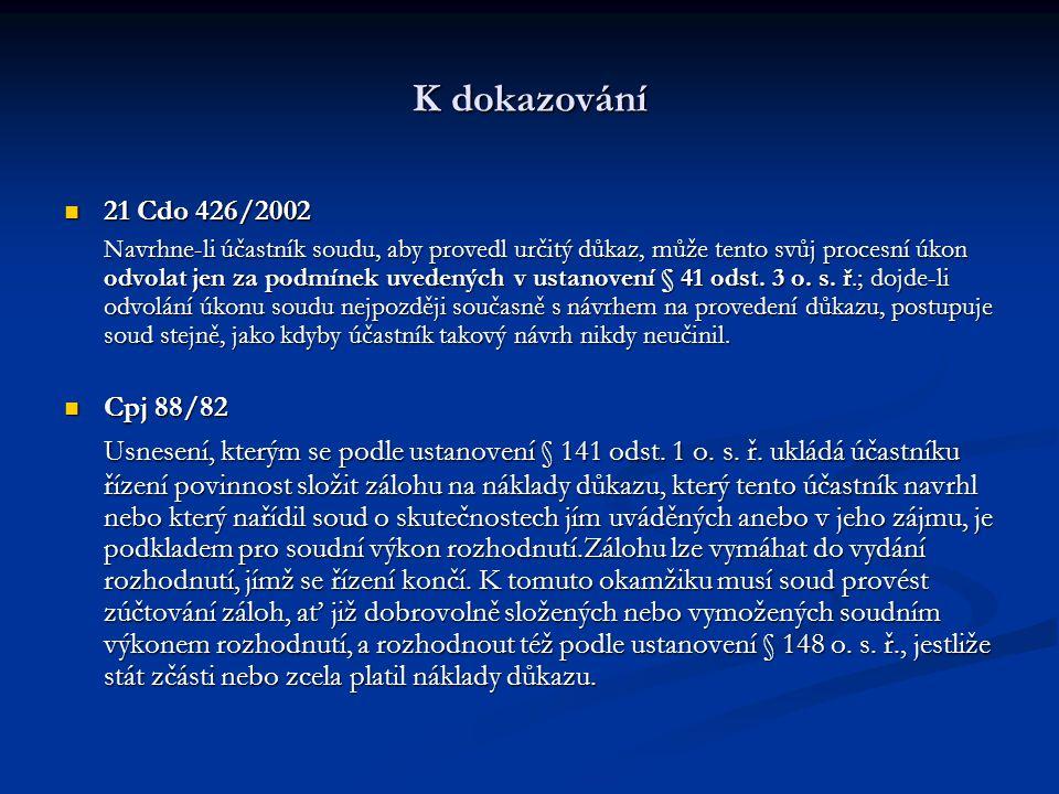 K dokazování 21 Cdo 426/2002 21 Cdo 426/2002 Navrhne-li účastník soudu, aby provedl určitý důkaz, může tento svůj procesní úkon odvolat jen za podmíne