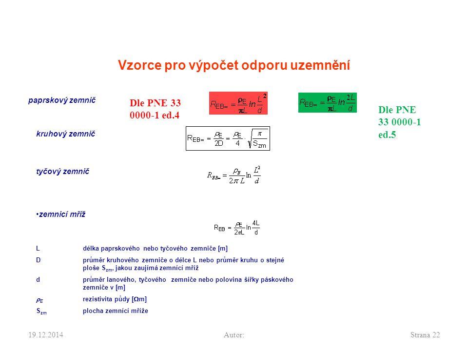 19.12.2014Autor:Strana 22 Vzorce pro výpočet odporu uzemnění paprskový zemnič kruhový zemnič tyčový zemnič zemnicí mříž Ldélka paprskového nebo tyčové