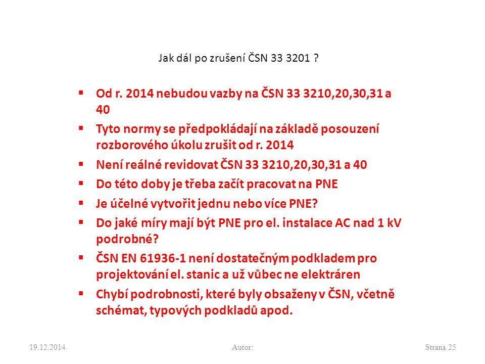Jak dál po zrušení ČSN 33 3201 . Od r.