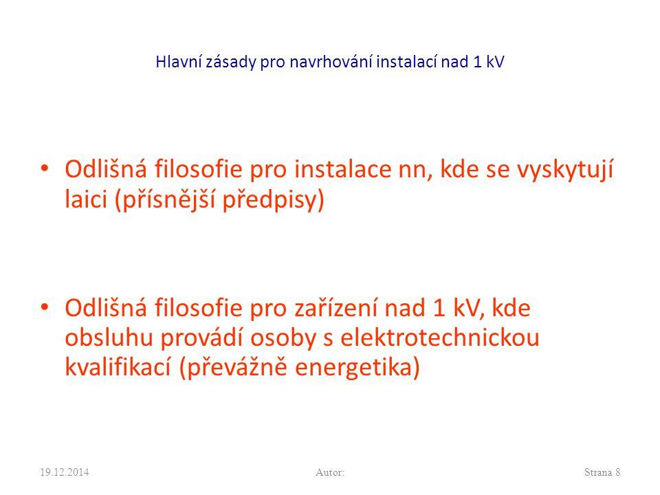 Hlavní zásady pro navrhování instalací nad 1 kV Odlišná filosofie pro instalace nn, kde se vyskytují laici (přísnější předpisy) Odlišná filosofie pro