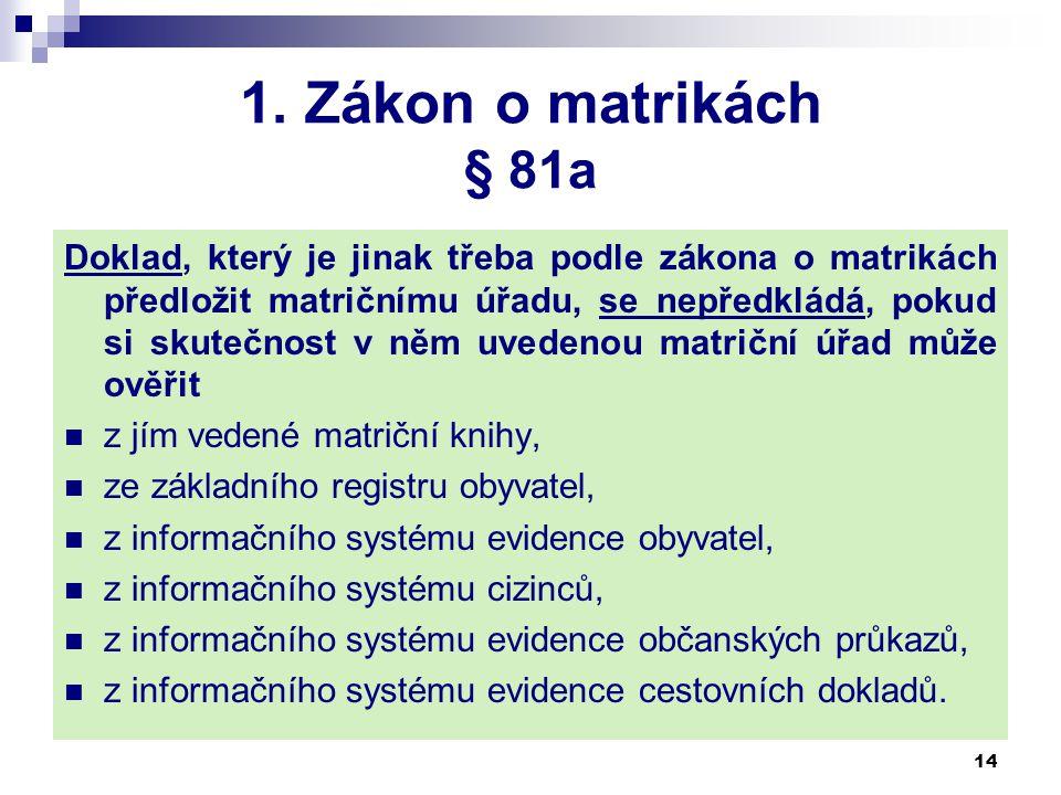 1. Zákon o matrikách § 81a Doklad, který je jinak třeba podle zákona o matrikách předložit matričnímu úřadu, se nepředkládá, pokud si skutečnost v něm