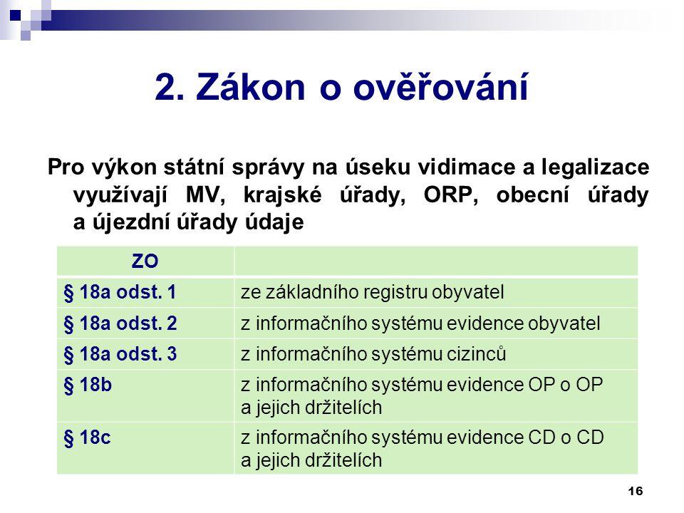 2. Zákon o ověřování Pro výkon státní správy na úseku vidimace a legalizace využívají MV, krajské úřady, ORP, obecní úřady a újezdní úřady údaje 16 ZO