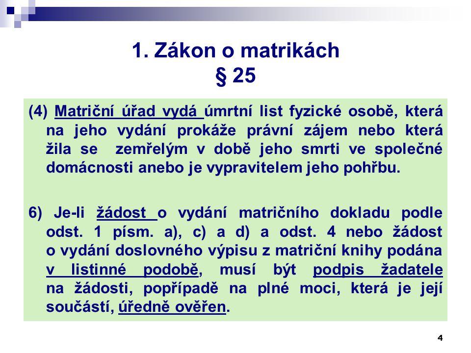 Zákon o matrikách Pro výkon státní správy na úseku matrik využívají MV, krajské úřady a matriční úřady údaje 15 ZM § 84 odst.