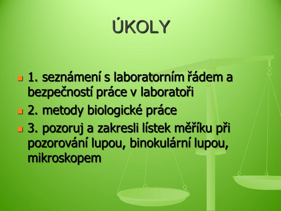 ÚKOLY 1.seznámení s laboratorním řádem a bezpečností práce v laboratoři 1.