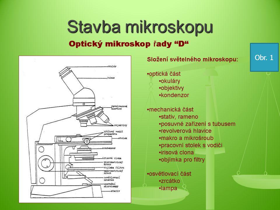 Postup při mikroskopování 1.nastavit nejméně zvětšující objektiv 2.
