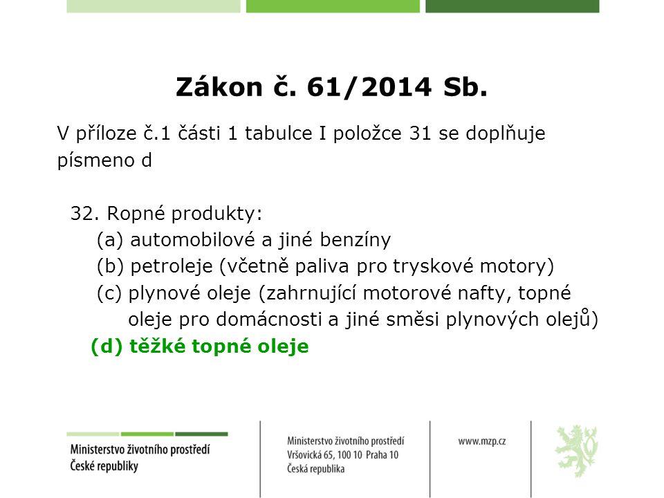 Zákon č.61/2014 Sb. V příloze č.1 části 1 tabulce I položce 31 se doplňuje písmeno d 32.