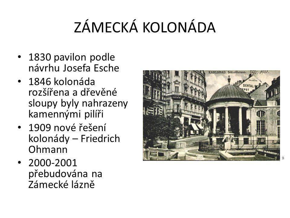 ZÁMECKÁ KOLONÁDA 1830 pavilon podle návrhu Josefa Esche 1846 kolonáda rozšířena a dřevěné sloupy byly nahrazeny kamennými pilíři 1909 nové řešení kolonády – Friedrich Ohmann 2000-2001 přebudována na Zámecké lázně 9