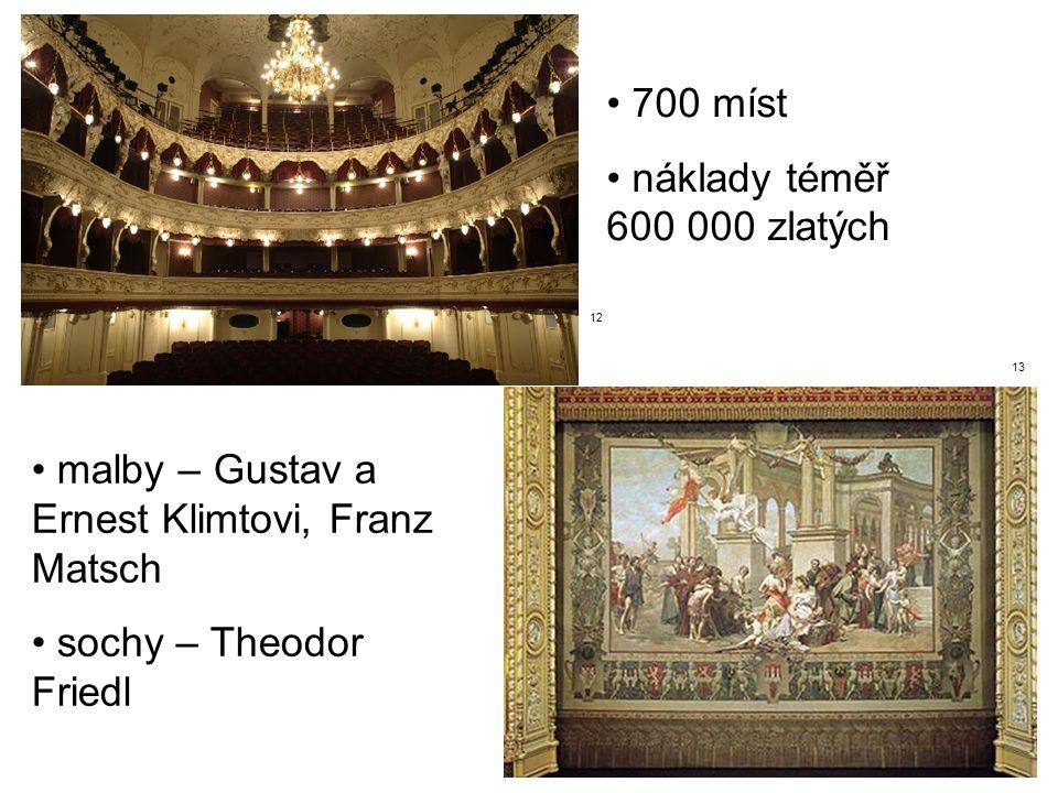 malby – Gustav a Ernest Klimtovi, Franz Matsch sochy – Theodor Friedl 700 míst náklady téměř 600 000 zlatých 12 13