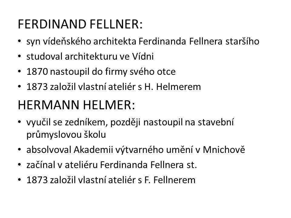 FERDINAND FELLNER: syn vídeňského architekta Ferdinanda Fellnera staršího studoval architekturu ve Vídni 1870 nastoupil do firmy svého otce 1873 založil vlastní ateliér s H.