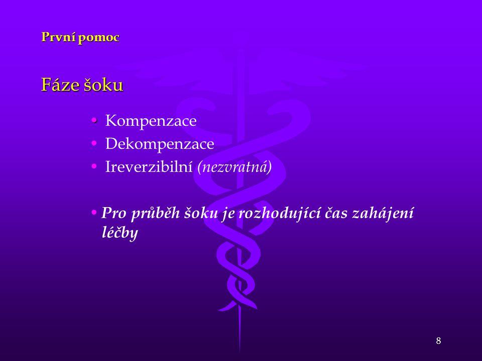 8 První pomoc Fáze šoku Kompenzace Dekompenzace Ireverzibilní (nezvratná) Pro průběh šoku je rozhodující čas zahájení léčby