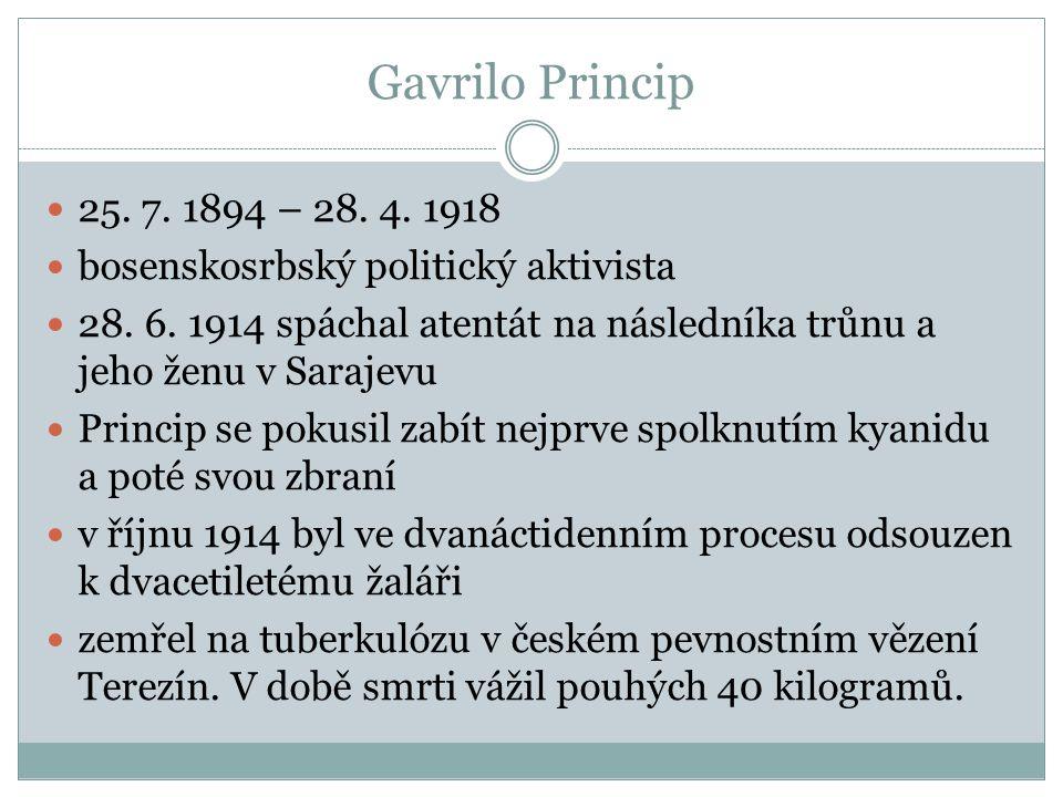 25. 7. 1894 – 28. 4. 1918 bosenskosrbský politický aktivista 28. 6. 1914 spáchal atentát na následníka trůnu a jeho ženu v Sarajevu Princip se pokusil