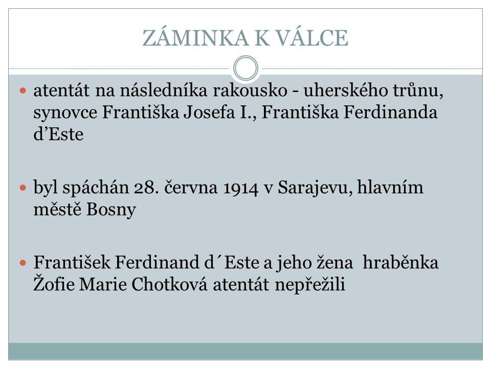 ZÁMINKA K VÁLCE atentát na následníka rakousko - uherského trůnu, synovce Františka Josefa I., Františka Ferdinanda d'Este byl spáchán 28. června 1914