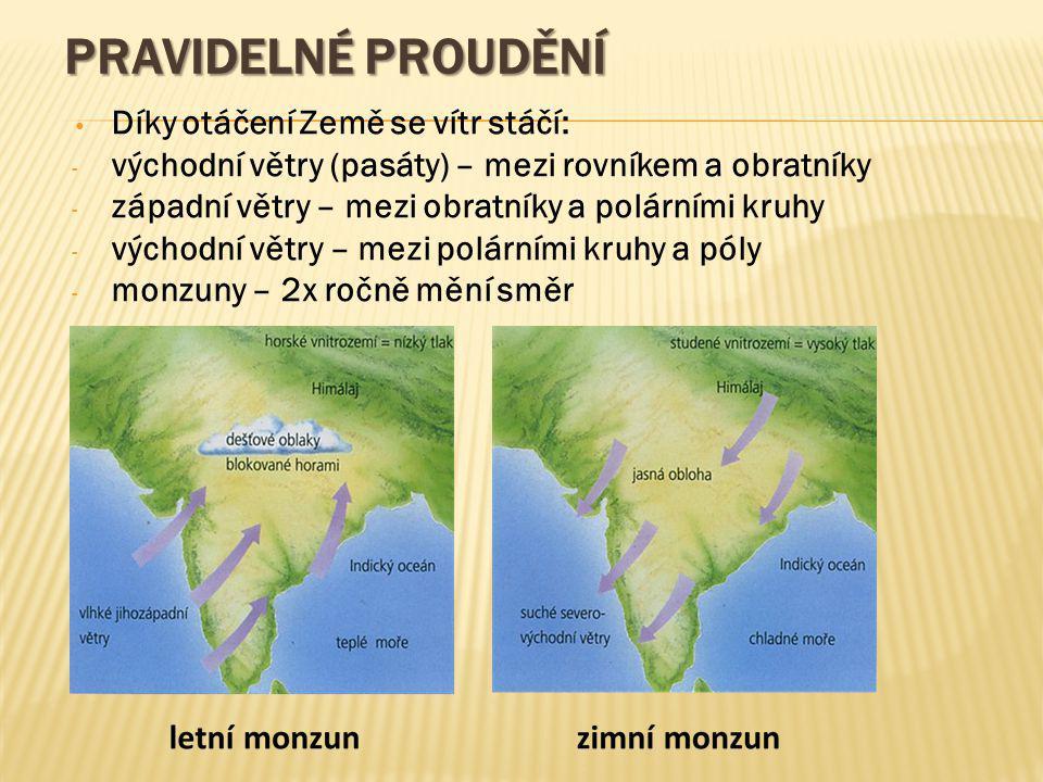 PRAVIDELNÉ PROUDĚNÍ Díky otáčení Země se vítr stáčí: - východní větry (pasáty) – mezi rovníkem a obratníky - západní větry – mezi obratníky a polárním