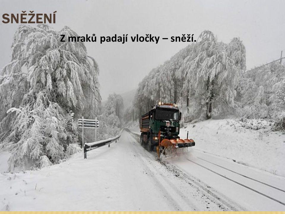SNĚŽENÍ Z mraků padají vločky – sněží.