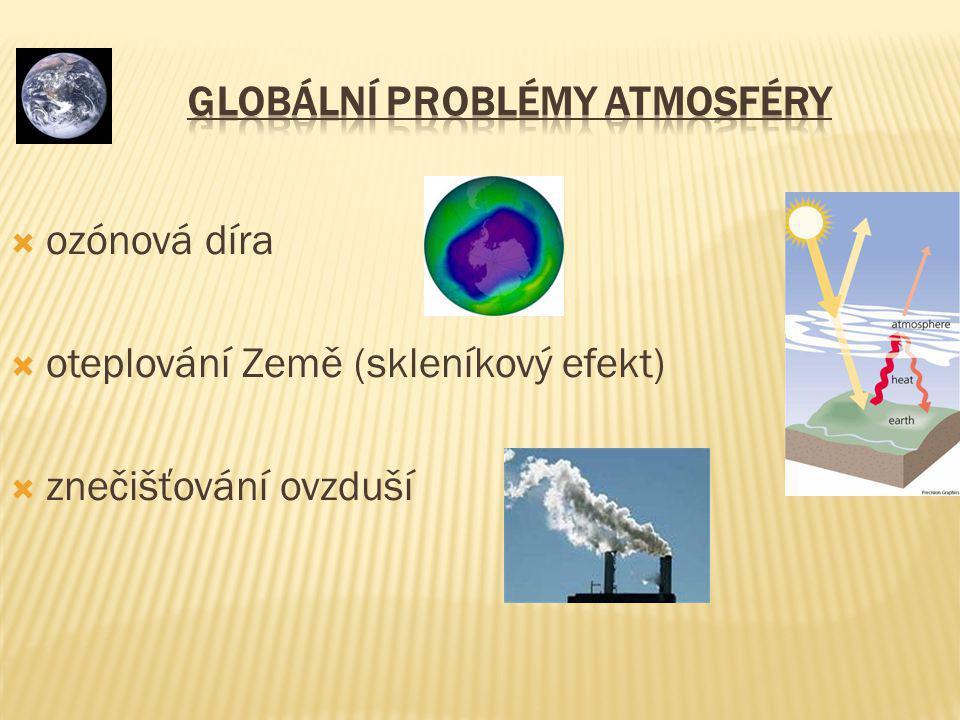  Spojte správně - řešení: Složení atmosféry Dusík, kyslík, CO2, vodní páry, ozon, vzácné plyny,… Význam atmosféry Zabraňuje přehřátí a zmrznutí planety Umožňuje život na Zemi Chrání před škodlivým kosmickým zářením Meteorologie Věda zabývající se počasím Počasí Okamžitý stav atmosféry Meteorologické prvky Oblačnost, srážky, vítr, tlak vzduchu, vlhkost vzduchu, teplota vzduchu Podnebí Dlouhodobý ráz počasí na určitém místě