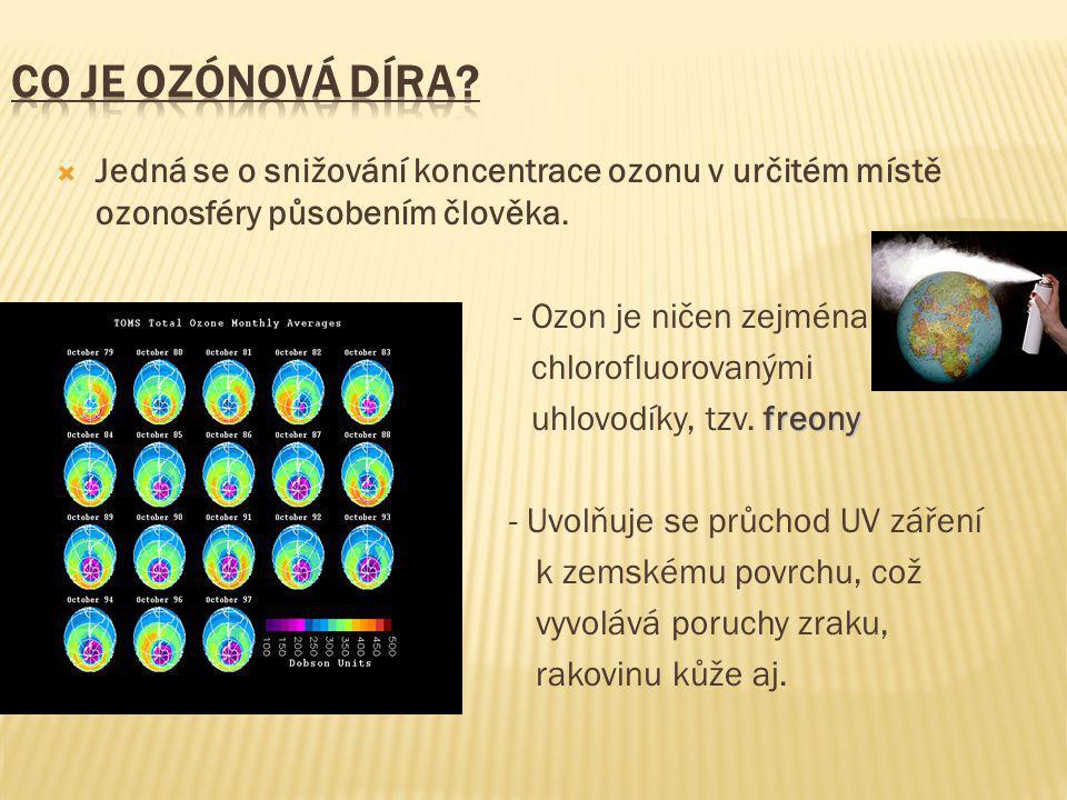  Jedná se o snižování koncentrace ozonu v určitém místě ozonosféry působením člověka.  - Ozon je ničen zejména  chlorofluorovanými freony  uhlovod