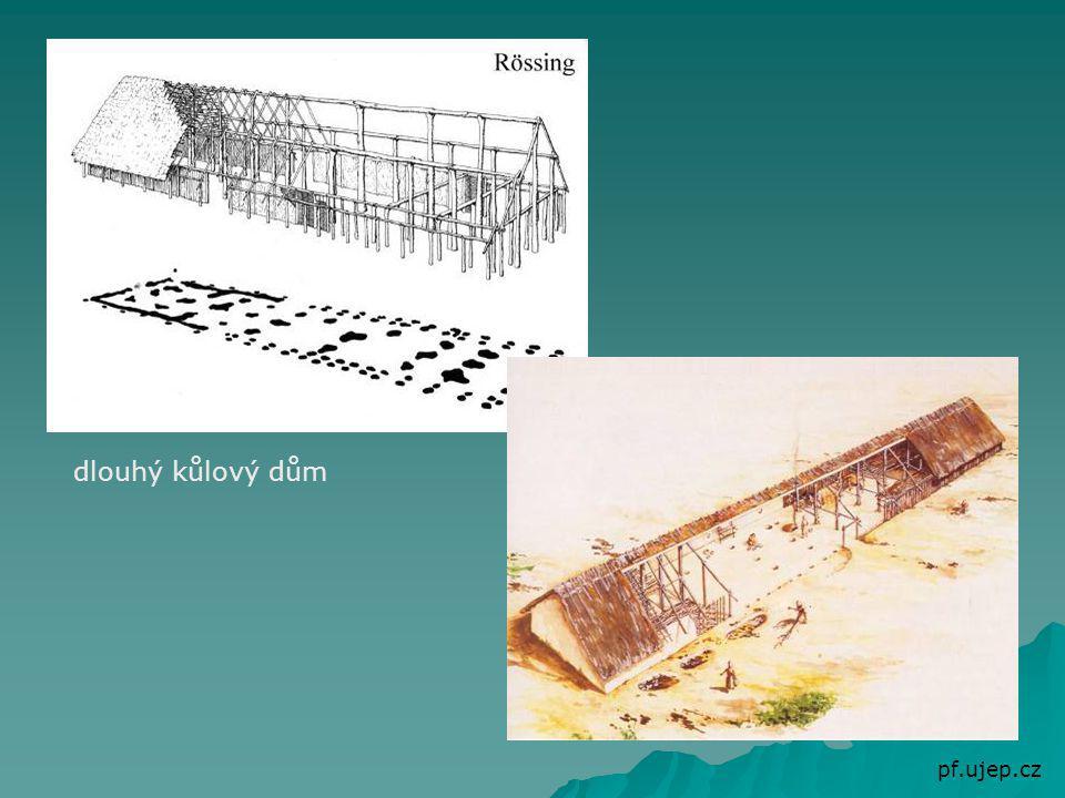 Usedlý způsob života stavba velkých domů ze dřeva a hlíny (velkorodina = rodiče, jejich děti a vnoučata), pokračuje kult ženy-matky vznik prvních vesnic (rodové občiny) – 5 až 10 domů v čele rodu – stařešina půda ve společném vlastnictví (společně obdělávali, o úrodu se dělili rovným dílem) společná pastva dobytka - dlouhý až 45 metrů - široký 5-8 metrů - dřevěné kůly - vypletení proutím - omazání hlínou - slámová střecha např.