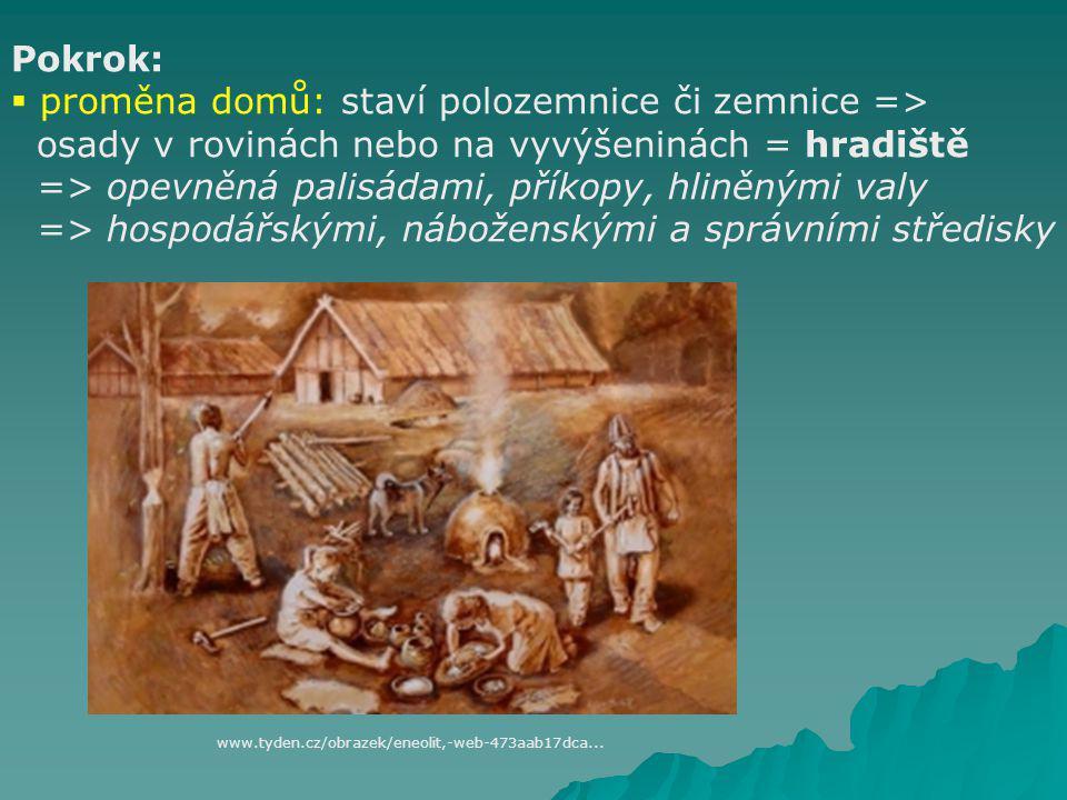 ENEOLIT (4 300 – 2 200 př. n. l.) Pokrok:  dřevěné oradlo ve tvaru háku tažené dobytčaty  využíván čtyřkolý vůz s plnými koly  kamenné srpy s jedin
