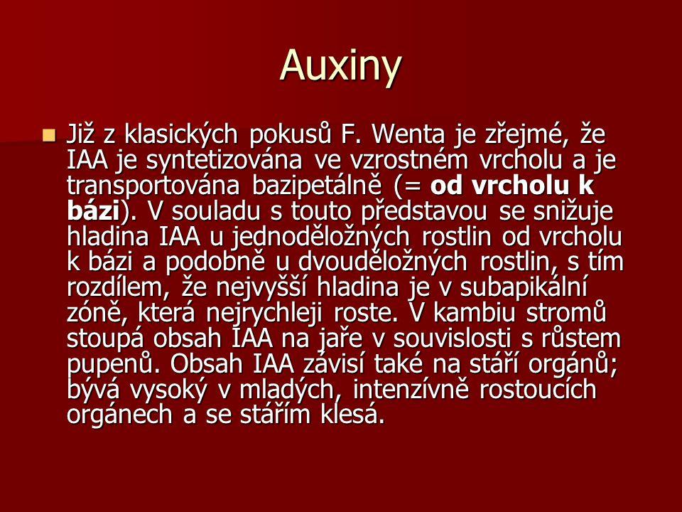 Auxiny Již z klasických pokusů F.