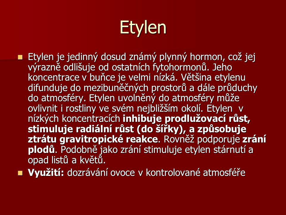Etylen Etylen je jedinný dosud známý plynný hormon, což jej výrazně odlišuje od ostatních fytohormonů. Jeho koncentrace v buňce je velmi nízká. Většin