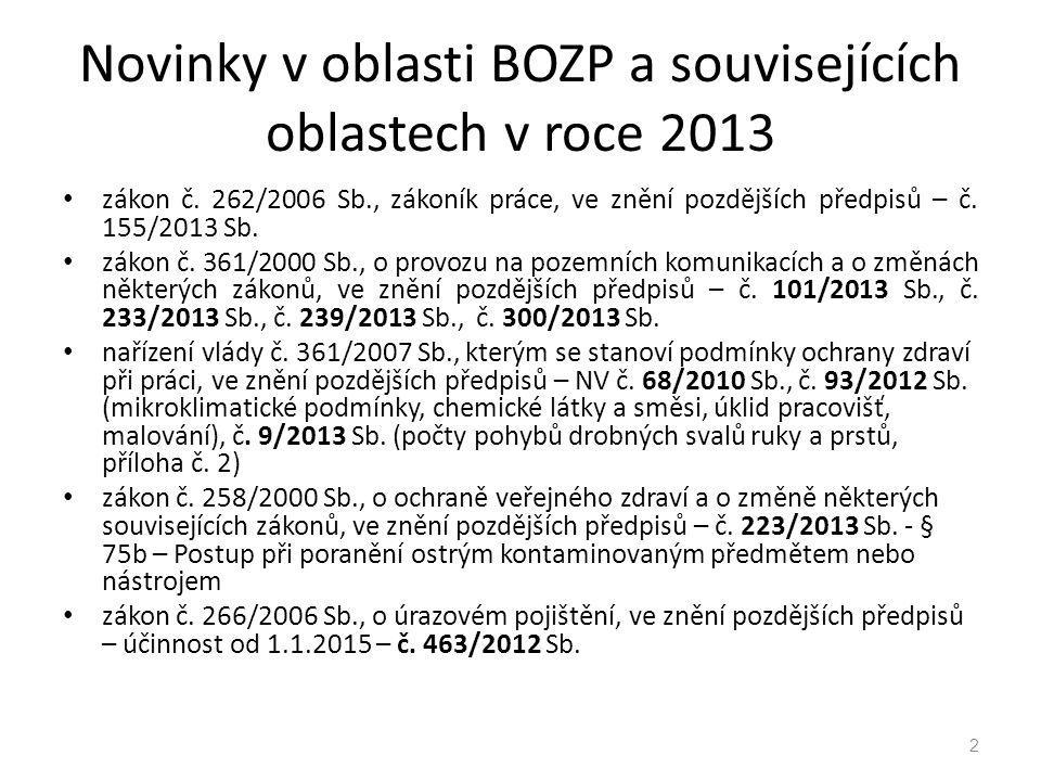 Novinky v oblasti BOZP a souvisejících oblastech v roce 2013 zákon č. 262/2006 Sb., zákoník práce, ve znění pozdějších předpisů – č. 155/2013 Sb. záko