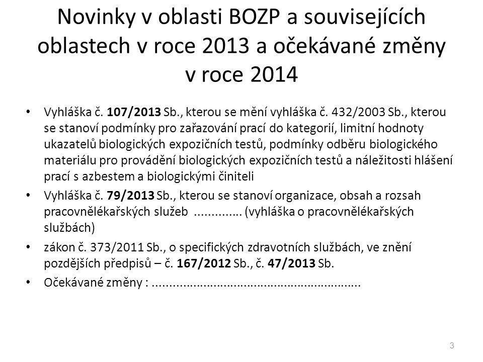 Novinky v oblasti BOZP a souvisejících oblastech v roce 2013 a očekávané změny v roce 2014 Vyhláška č. 107/2013 Sb., kterou se mění vyhláška č. 432/20