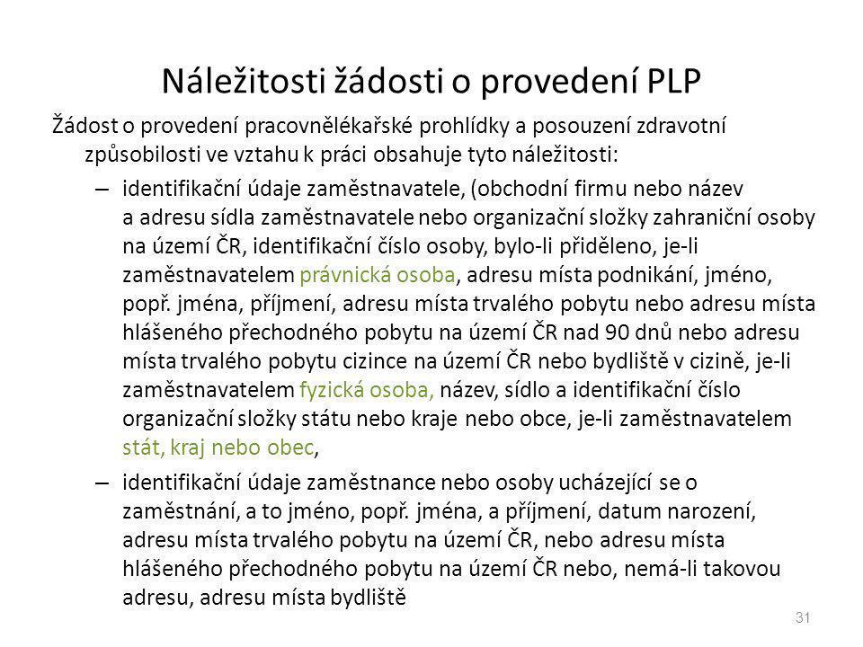 Náležitosti žádosti o provedení PLP Žádost o provedení pracovnělékařské prohlídky a posouzení zdravotní způsobilosti ve vztahu k práci obsahuje tyto n