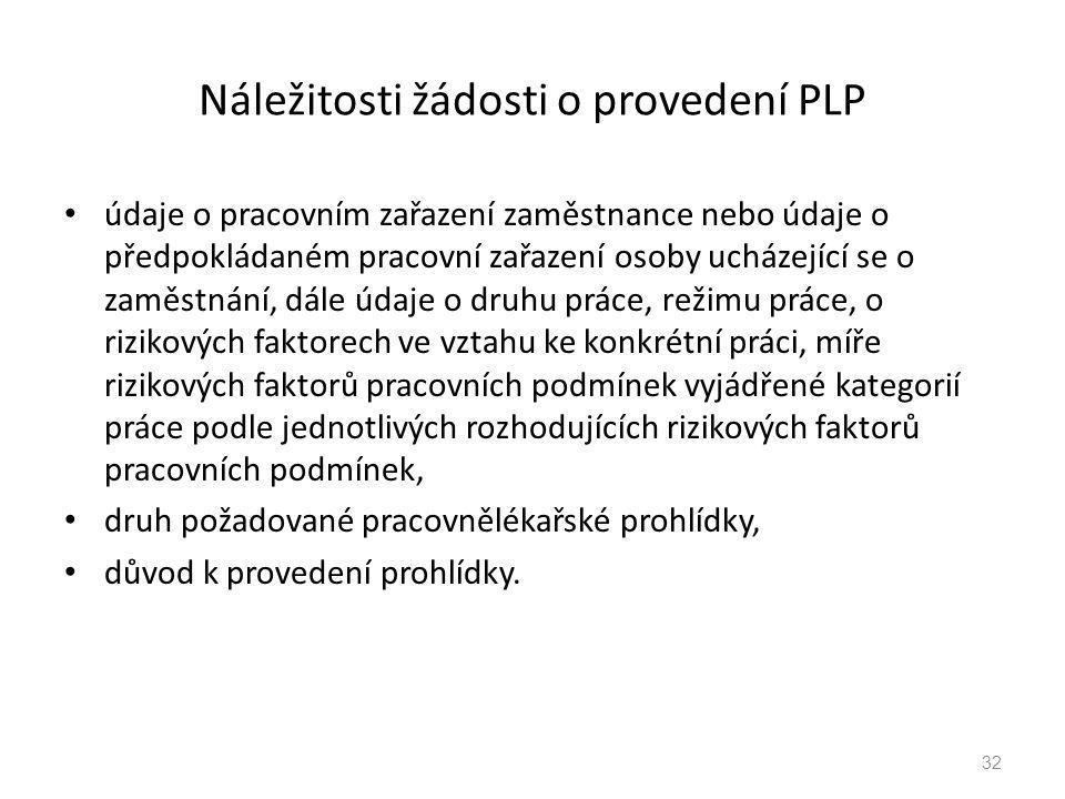 Náležitosti žádosti o provedení PLP údaje o pracovním zařazení zaměstnance nebo údaje o předpokládaném pracovní zařazení osoby ucházející se o zaměstn