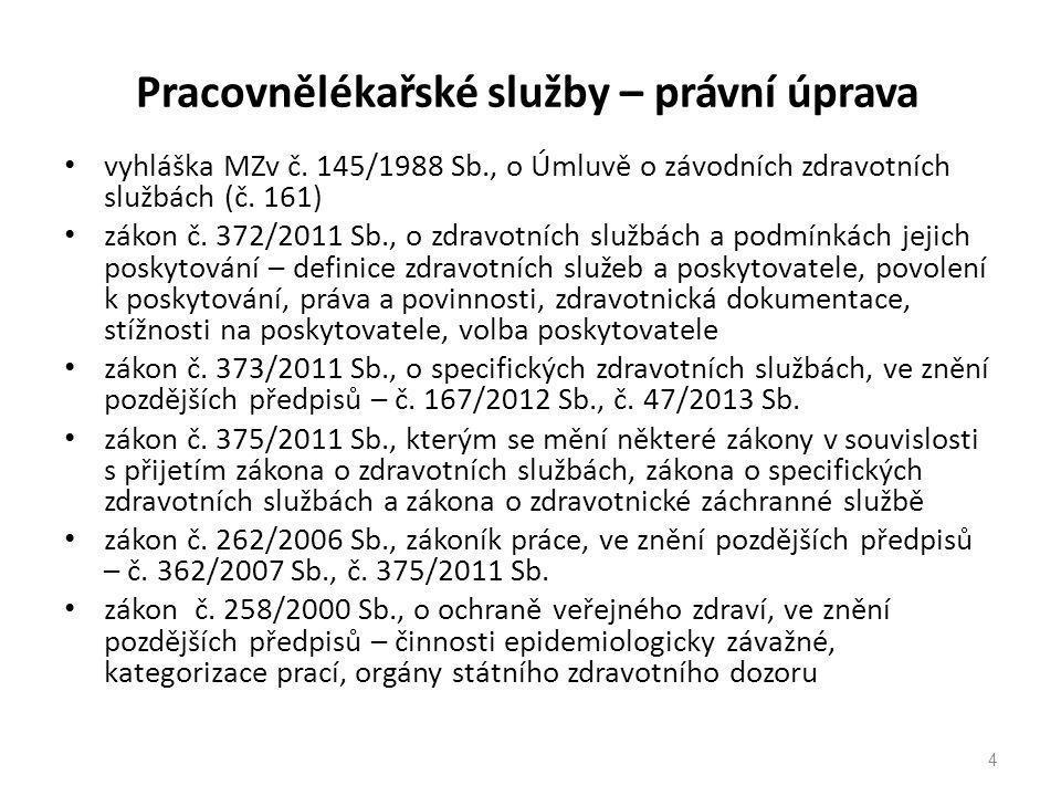 Pracovnělékařské služby – právní úprava vyhláška MZv č. 145/1988 Sb., o Úmluvě o závodních zdravotních službách (č. 161) zákon č. 372/2011 Sb., o zdra