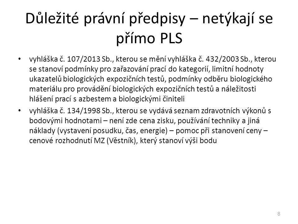 Důležité právní předpisy – netýkají se přímo PLS vyhláška č. 107/2013 Sb., kterou se mění vyhláška č. 432/2003 Sb., kterou se stanoví podmínky pro zař