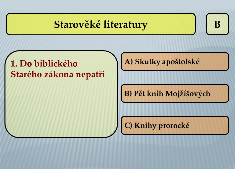 B 1. Do biblického Starého zákona nepatří A) Skutky apoštolské B) Pět knih Mojžíšových C) Knihy prorocké Starověké literatury