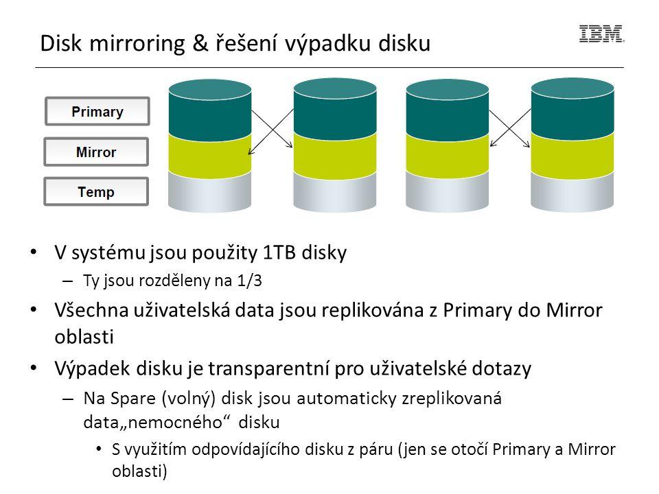 """V systému jsou použity 1TB disky – Ty jsou rozděleny na 1/3 Všechna uživatelská data jsou replikována z Primary do Mirror oblasti Výpadek disku je transparentní pro uživatelské dotazy – Na Spare (volný) disk jsou automaticky zreplikovaná data""""nemocného disku S využitím odpovídajícího disku z páru (jen se otočí Primary a Mirror oblasti) Disk mirroring & řešení výpadku disku"""