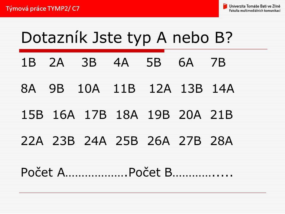 Dotazník Jste typ A nebo B.