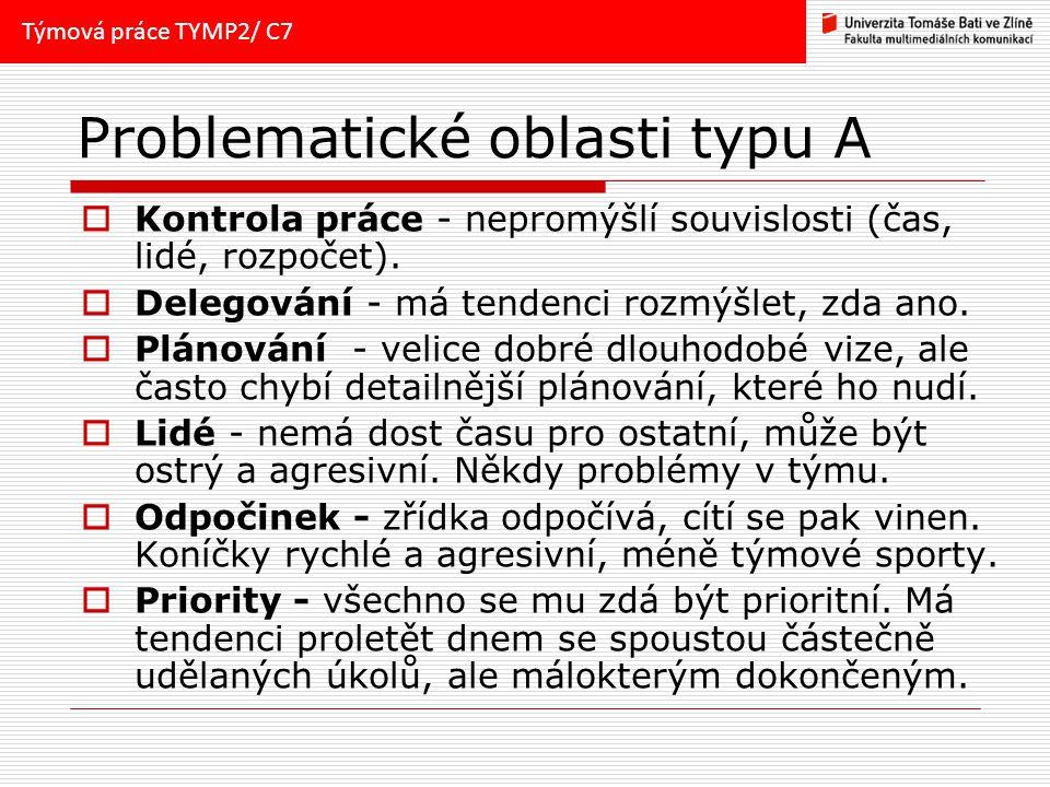 Problematické oblasti typu A  Kontrola práce - nepromýšlí souvislosti (čas, lidé, rozpočet).
