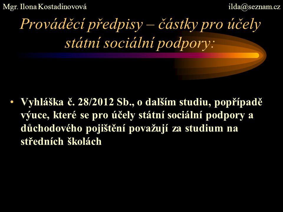 Prováděcí předpisy – částky pro účely státní sociální podpory: Vyhláška č. 28/2012 Sb., o dalším studiu, popřípadě výuce, které se pro účely státní so