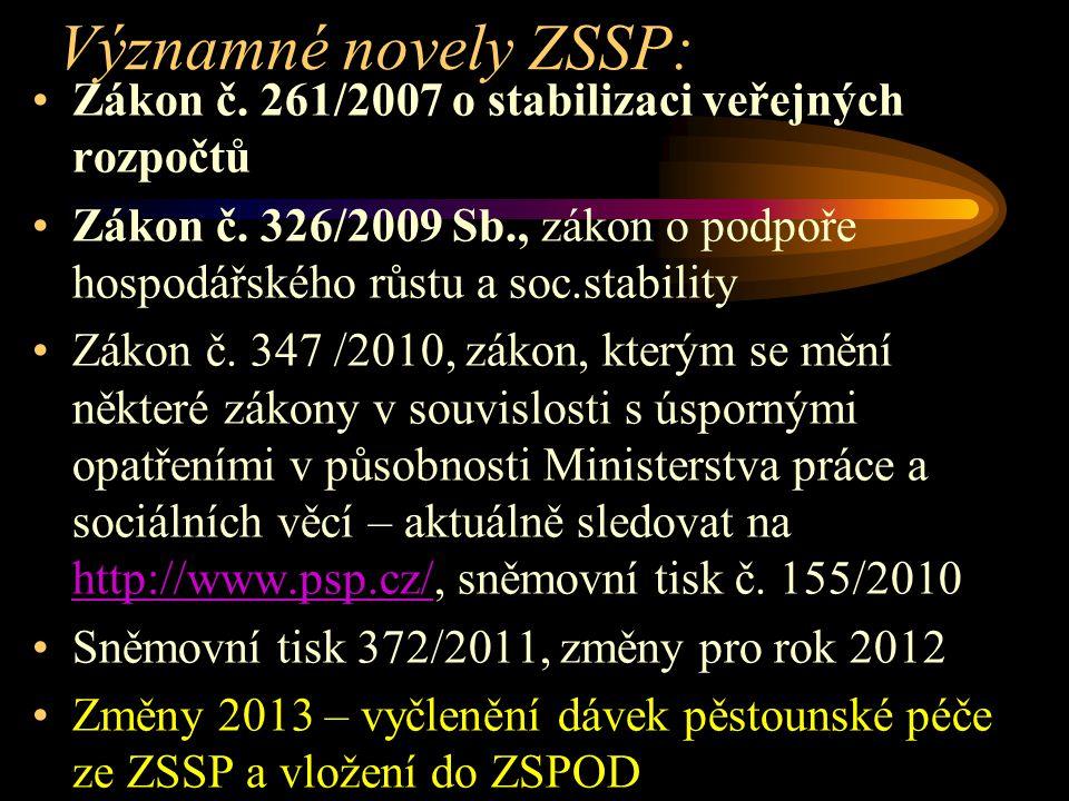 Významné novely ZSSP: Zákon č. 261/2007 o stabilizaci veřejných rozpočtů Zákon č. 326/2009 Sb., zákon o podpoře hospodářského růstu a soc.stability Zá