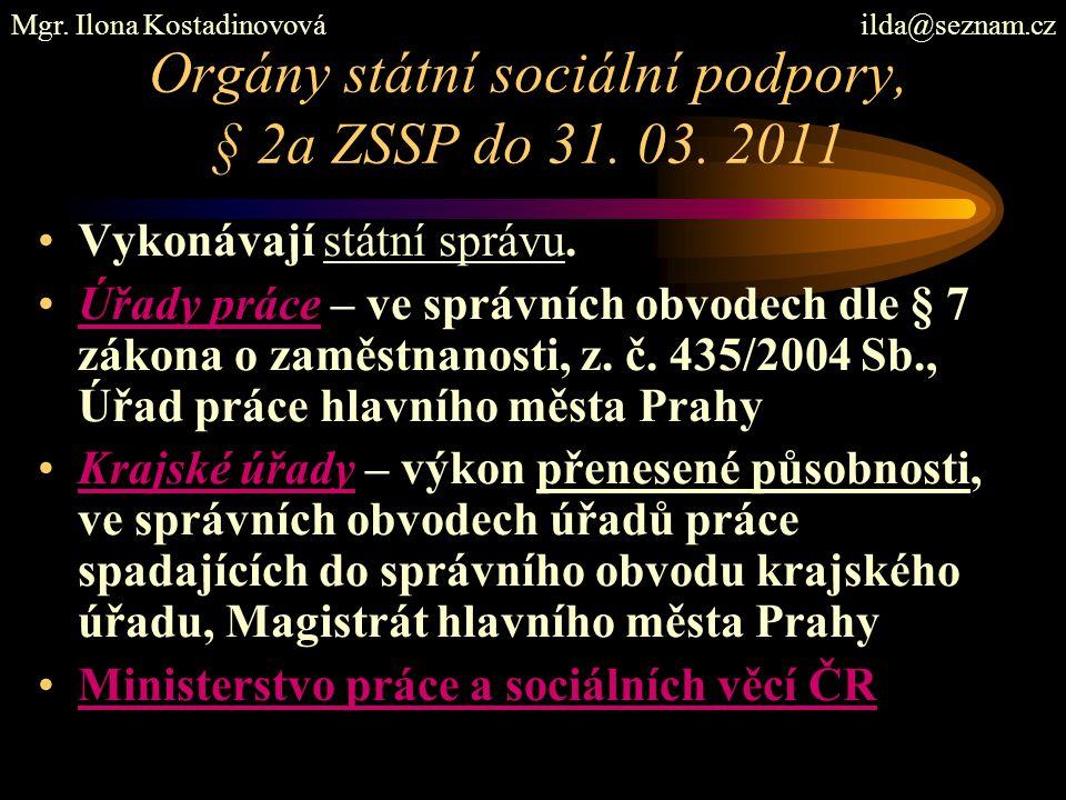 Orgány státní sociální podpory, § 2a ZSSP do 31. 03. 2011 Vykonávají státní správu. Úřady práce – ve správních obvodech dle § 7 zákona o zaměstnanosti