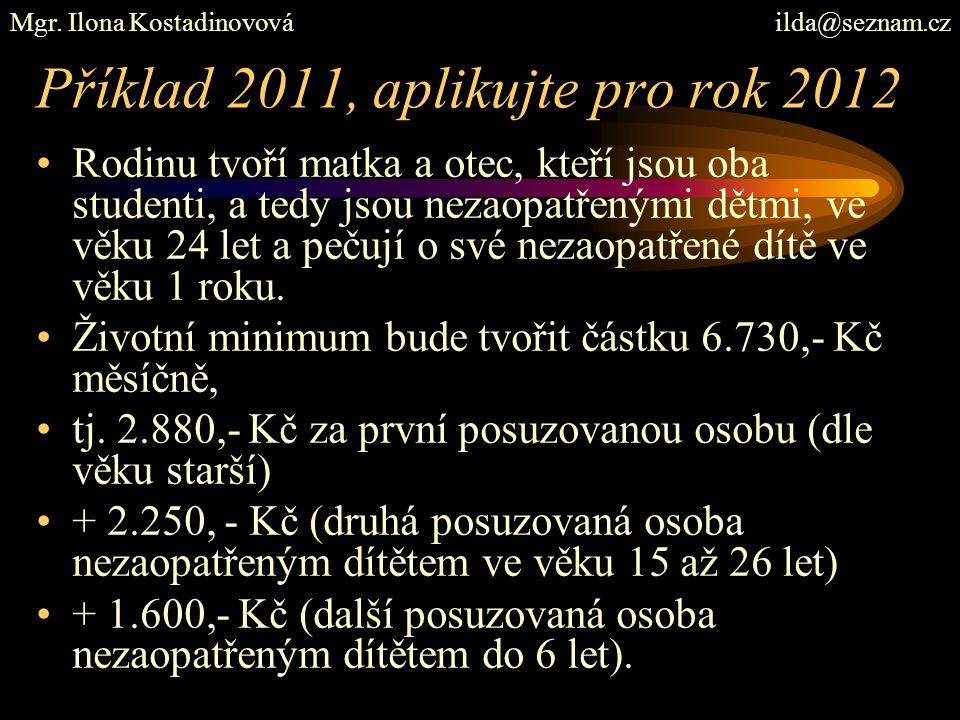 Příklad 2011, aplikujte pro rok 2012 Rodinu tvoří matka a otec, kteří jsou oba studenti, a tedy jsou nezaopatřenými dětmi, ve věku 24 let a pečují o s