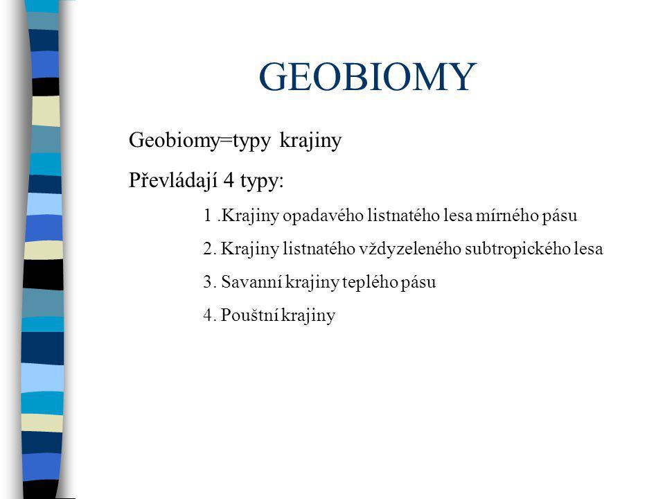 GEOBIOMY Geobiomy=typy krajiny Převládají 4 typy: 1.Krajiny opadavého listnatého lesa mírného pásu 2. Krajiny listnatého vždyzeleného subtropického le