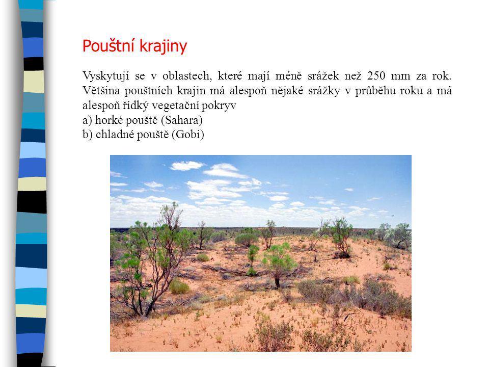 Pouštní krajiny Vyskytují se v oblastech, které mají méně srážek než 250 mm za rok. Většina pouštních krajin má alespoň nějaké srážky v průběhu roku a